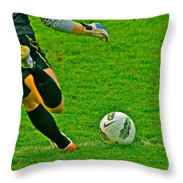 Game Ball Throw Pillow by Laddie Halupa