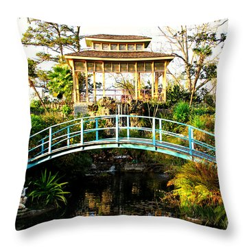 Garden Bridge Throw Pillow by Perry Webster