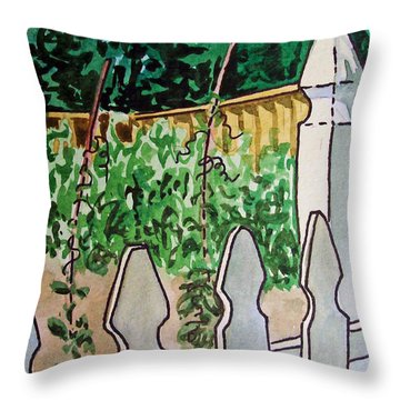Garden Fence Sketchbook Project Down My Street Throw Pillow by Irina Sztukowski
