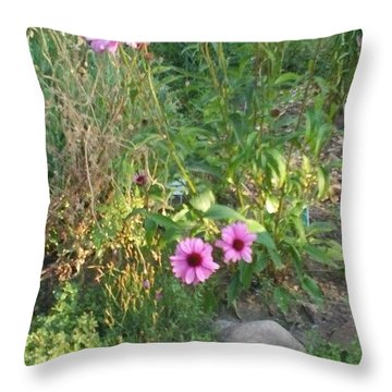 Garden Flowers And Rocks Throw Pillow by Thelma Harcum