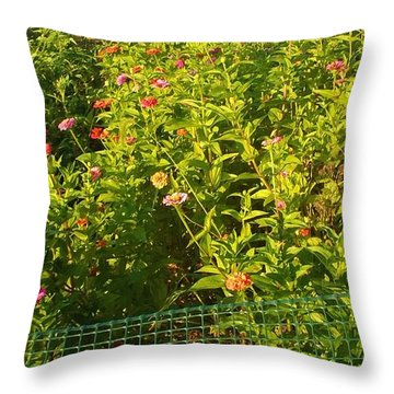 Garden Flowers Mixed Colors Throw Pillow by Thelma Harcum