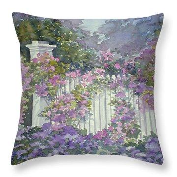 Garden Gate Roses Throw Pillow