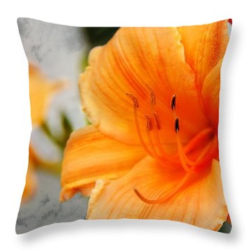 Throw Pillow featuring the photograph Garden Lily by Davandra Cribbie