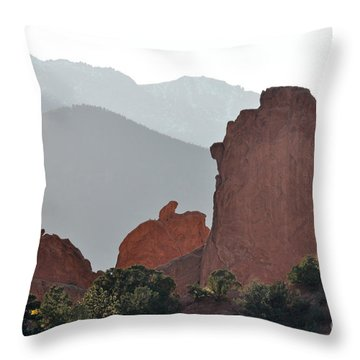 Garden Of The Gods Throw Pillow by Cheryl McClure