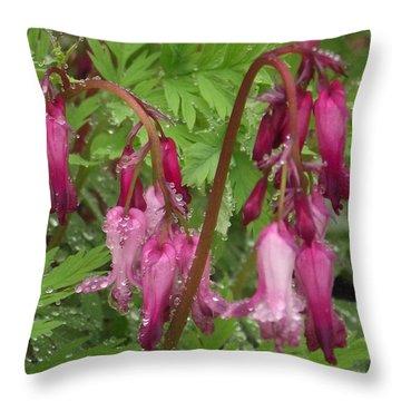 Garden Rain Drops Throw Pillow