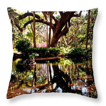 Garden Reflections Throw Pillow by Bob and Nancy Kendrick