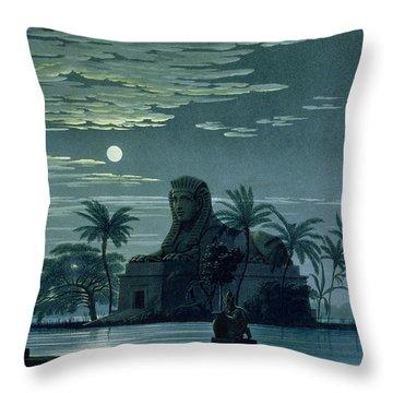 Garden Scene With The Sphinx In Moonlight Throw Pillow by KF Schinkel