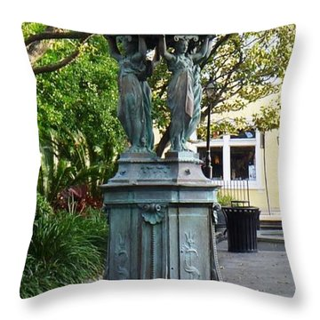 Throw Pillow featuring the photograph Garden Statuary In The French Quarter by Alys Caviness-Gober