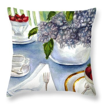 Throw Pillow featuring the painting Garden Tea Party by Clara Sue Beym