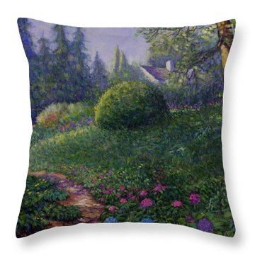 Throw Pillow featuring the painting Garden Trail by Charles Munn