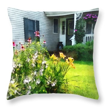 Garden With Coneflowers And Lilies Throw Pillow by Susan Savad