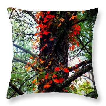 Garland Of Autumn Throw Pillow by Karen Wiles