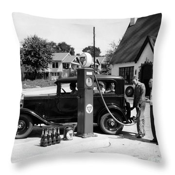 Gas Station Throw Pillow by Photo Researchers