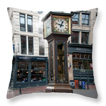 Throw Pillow featuring the digital art Gastown Steam Clock by Carol Ailles