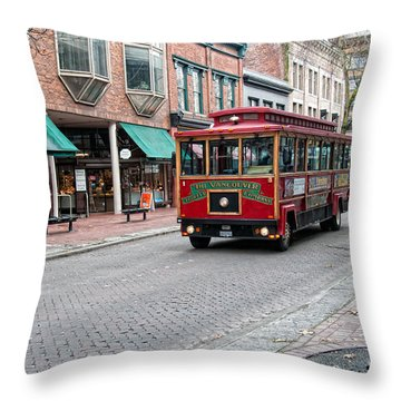 Throw Pillow featuring the digital art Gastown Street Scene by Carol Ailles