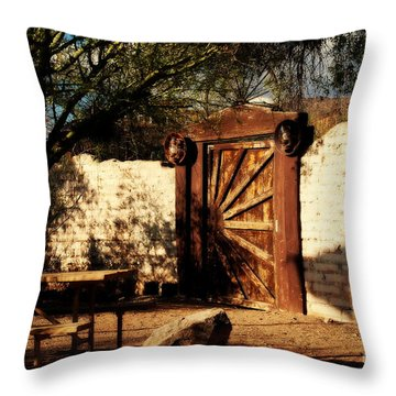 Gate To Cowboy Heaven In Old Tuscon Az Throw Pillow by Susanne Van Hulst