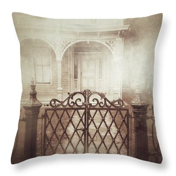 Gate To Victorian House Throw Pillow
