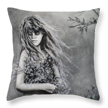 Gathering Spring Wildflowers Throw Pillow by Carla Carson