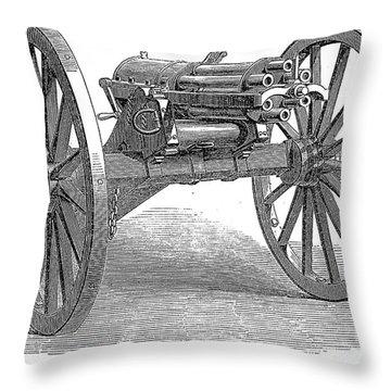 Gatling Gun, 1867 Throw Pillow by Granger