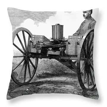 Gatling Gun, 1872 Throw Pillow by Granger