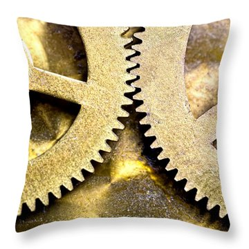 Throw Pillow featuring the photograph Gears From Inside A Wind-up Clock by John Short
