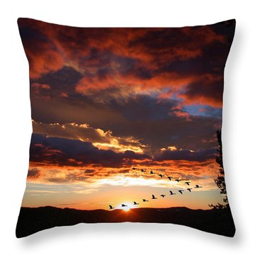 Geese Flying At Sunset Throw Pillow