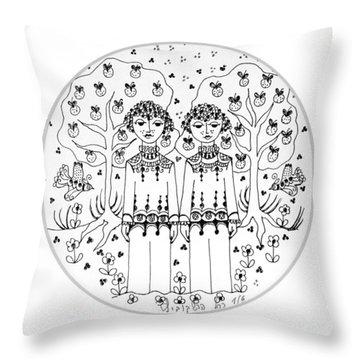 Gemini Throw Pillow by Rachel Hershkovitz