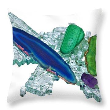 Gemstones And Broken Glass Throw Pillow by Susan Leggett
