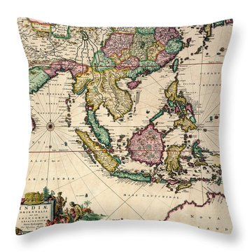 General Map Extending From India And Ceylon To Northwestern Australia By Way Of Southern Japan Throw Pillow by Nicolaes Visscher Claes Jansz