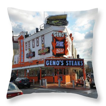 Geno's Steaks - South Philadelphia Throw Pillow by Bill Cannon