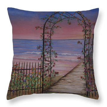Gentle Trellis Of Roses Throw Pillow
