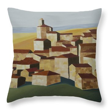 Cubist Village Spain Throw Pillow