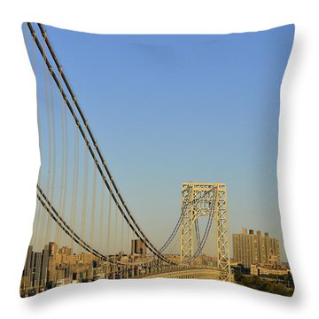 George Washington Bridge And Boat Throw Pillow by Zawhaus Photography