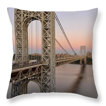 George Washington Bridge At Sunset Throw Pillow by Zawhaus Photography