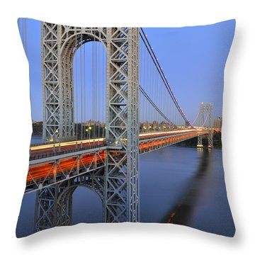 George Washington Bridge At Twilight Throw Pillow by Zawhaus Photography