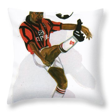 George Weah In Action Throw Pillow by Emmanuel Baliyanga
