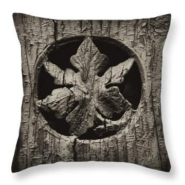 German Leaf Throw Pillow by Carrie Cranwill