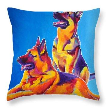 German Shepherd - Eiko And Erin Throw Pillow by Alicia VanNoy Call