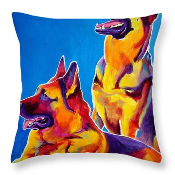 German Shepherd - Eiko And Erin Crop Throw Pillow by Alicia VanNoy Call