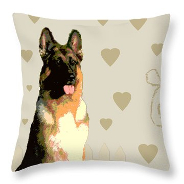 German Shepherd Throw Pillow by One Rude Dawg Orcutt
