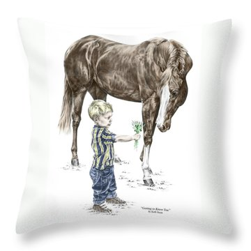 Throw Pillow featuring the drawing Getting To Know You - Boy And Horse Print Color Tinted by Kelli Swan