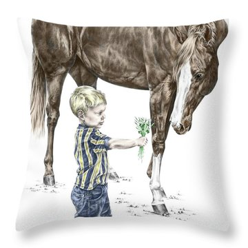 Getting To Know You - Boy And Horse Print Color Tinted Throw Pillow