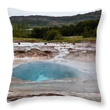Geysir Eruption Sequence Throw Pillow by Greg Dimijian