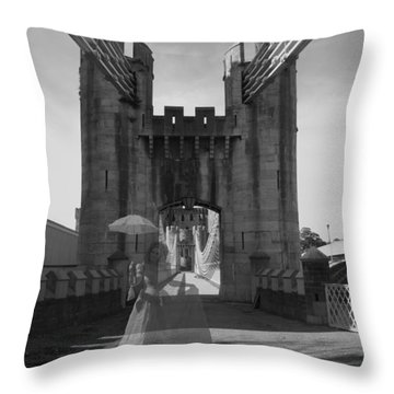 Ghost Bridge Black And White Throw Pillow