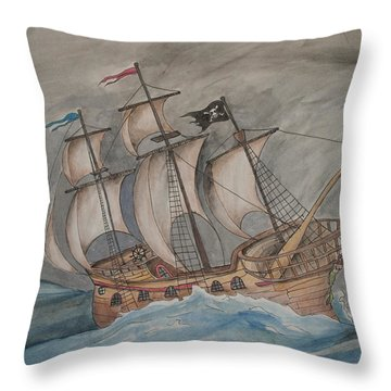 Ghost Pirate Ship Throw Pillow