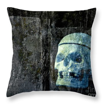 Ghost Skull Throw Pillow by Edward Fielding