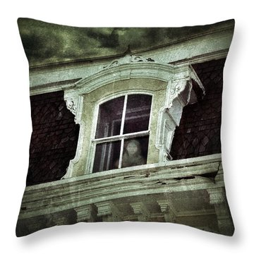 Ghostly Girl In Upstairs Window Throw Pillow by Jill Battaglia
