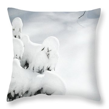 Throw Pillow featuring the photograph Ghostly Snow Covered Bush by Pamela Hyde Wilson