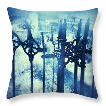 Ghostly Woman In The Cemetery Throw Pillow by Jill Battaglia