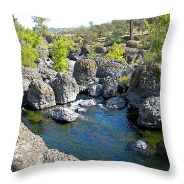 Giant Basalt Boulders Swimming Hole Throw Pillow by Frank Wilson
